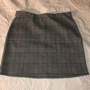 Simple Grey Plaid Skirt